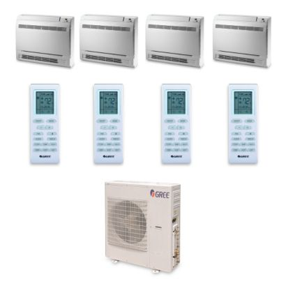 Gree MULTI42HP443 - 42,000 BTU +Multi Quad-Zone Floor Console Mini Split Air Conditioner Heat Pump 208-230V (9-9-12-12)