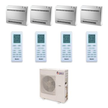 Gree MULTI42HP446 - 42,000 BTU +Multi Quad-Zone Floor Console Mini Split Air Conditioner Heat Pump 208-230V (9-12-12-12)