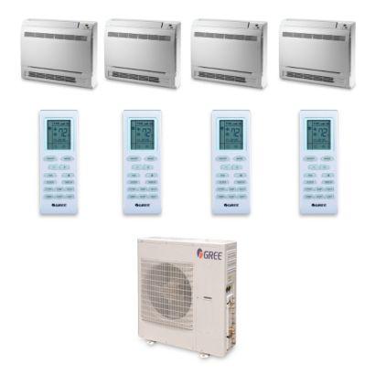 Gree MULTI42HP446 - 42,000 BTU +Multi Quad-Zone Floor Console Mini Split Air Conditioner Heat Pump 208-230V (9-12-12-12)