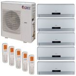 GREE 42,000 BTU +Multi Penta-Zone Ductless Mini-Split System Inverter Heat Pump 208-230V (9, 9, 9, 12, 12)
