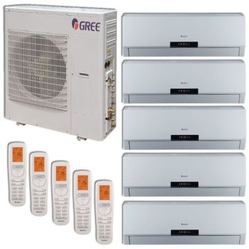 Gree MULTI42HP504 - 42,000 BTU +Multi Penta-Zone Wall Mounted Mini Split Air Conditioner with Heat Pump 220V (9-9-9-12-18)