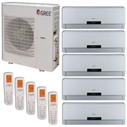 Gree MULTI42HP509 - 42,000 BTU +Multi Penta-Zone Wall Mount Mini Split Air Conditioner Heat Pump 208-230V (9-12-12-12-18)