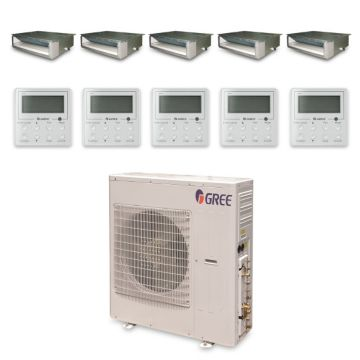 Gree MULTI42HP530 - 42,000 BTU +Multi Penta-Zone Concealed Duct Mini Split Air Conditioner Heat Pump 208-230V (9-9-9-9-9)