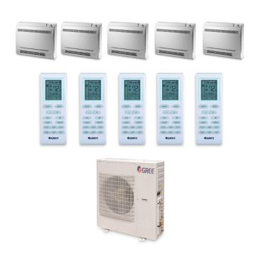 Gree MULTI42HP540 - 42,000 BTU +Multi Penta-Zone Floor Console Mini Split Air Conditioner Heat Pump 208-230V (9-9-9-9-9)