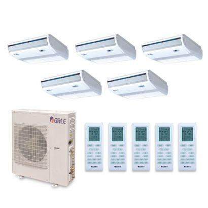 Gree MULTI42BCONS500 - 42,000 BTU +Multi Penta-Zone Floor Console Mini Split Air Conditioner Heat Pump 208-230V (9-9-9-9-9)