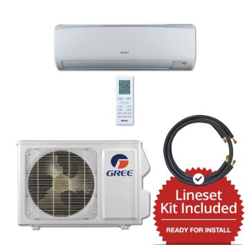 Gree RIO09115-143815 - 9,000 BTU 16 SEER Wall Mounted Mini Split Air Conditioner with Heat Pump 115V & 15' Line Set Kit