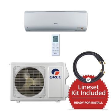 Gree RIO09115-143825 - 9,000 BTU 16 SEER Wall Mounted Mini Split Air Conditioner with Heat Pump 115V & 25' Line Set Kit