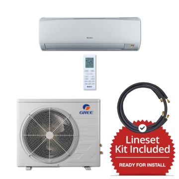 Gree RIO09230-143815 - 9,000 BTU 16 SEER Wall Mounted Mini Split Air Conditioner with Heat Pump 220V & 15' Line Set Kit