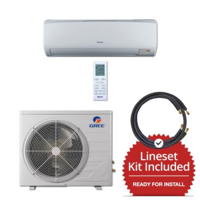 Gree RIO09230-143825 - 9,000 BTU 16 SEER Wall Mount Mini Split Air Conditioner Heat Pump 208-230V & 25' Line Set Kit