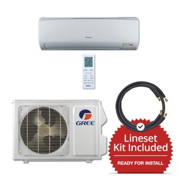 Gree RIO12115-143815 - 12,000 BTU 16 SEER Wall Mounted Mini Split Air Conditioner with Heat Pump 115V & 15' Line Set Kit