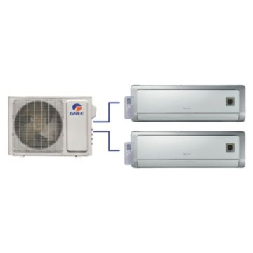 GREE Evo+ Dual-Zone Ductless Mini-Split System 24,000 BTU Inverter Heat Pump (12k, 12k Indoor)
