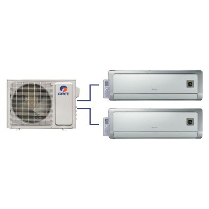 GREE Evo+ Dual-Zone Ductless Mini-Split System 30,000 BTU Inverter Heat Pump (18k, 18k Indoor)