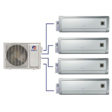 GREE Evo+ Quad-Zone Ductless Mini-Split System 30,000 BTU Inverter Heat Pump (9k, 9k, 9k, 12k Indoor)