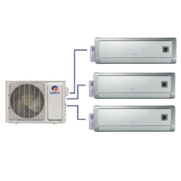 GREE Evo+ Tri-Zone Ductless Mini-Split System 30,000 BTU Inverter Heat Pump (9k, 12k, 12k Indoor)