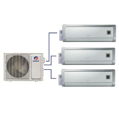 GREE Evo+ Tri-Zone Ductless Mini-Split System 30,000 BTU Inverter Heat Pump (12k, 12k, 18k Indoor)