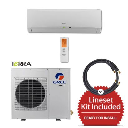 Gree TERRA09230-141215 - 9,000 BTU 27 SEER Wall Mount Mini Split Air Conditioner Heat Pump 208-230V & 15' Line Set