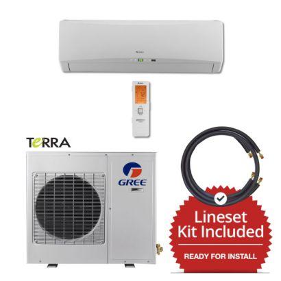 Gree TERRA09230-141235 - 9,000 BTU 27 SEER Wall Mount Ductless Mini Split Air Conditioner Heat Pump 208-230V & 35' Line Set