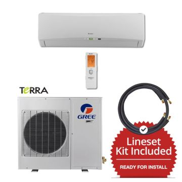 Gree TERRA09230-141250 - 9,000 BTU 27 SEER Wall Mounted Mini Split Air Conditioner with Heat Pump 220V & 50' Line Set