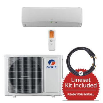 Gree TERRA12230-141250 - 12,000 BTU 25 SEER Wall Mounted Mini Split Air Conditioner with Heat Pump 220V & 50' Line Set