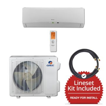 Gree TERRA18230-145825 - 18,000 BTU 21 SEER Wall Mounted Mini Split Air Conditioner with Heat Pump 220V & 25' Line Set