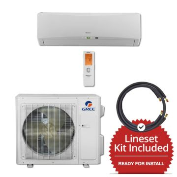 Gree TERRA24230-145875 - 24,000 BTU 21 SEER Wall Mounted Mini Split Air Conditioner with Heat Pump 220V & 75' Line Set