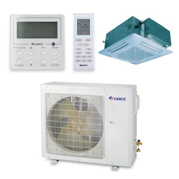 Gree UMAT18HP230V1AC-S - 17,100 BTU 16 SEER Ceiling Cassette Ductless Mini Split Air Conditioner with Heat Pump 220V