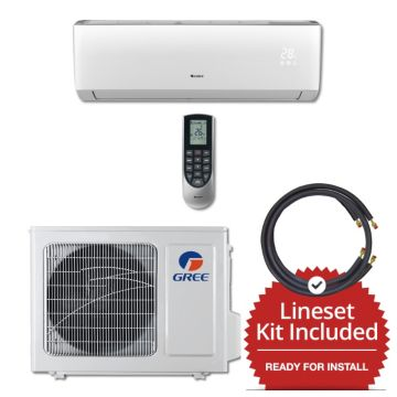 Gree VIR09230-143815 - 9,000 BTU 23 SEER Wall Mounted Mini Split Air Conditioner with Heat Pump 220V & 15' Line Set