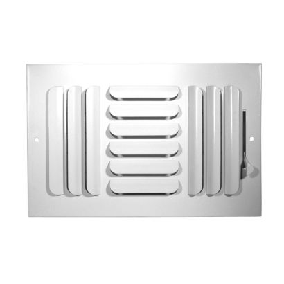 "Grille Tech CB3W14X08 - Stamped Steel Ceiling Air Register Curved Blade 3-Way 14"" X 8"" White"