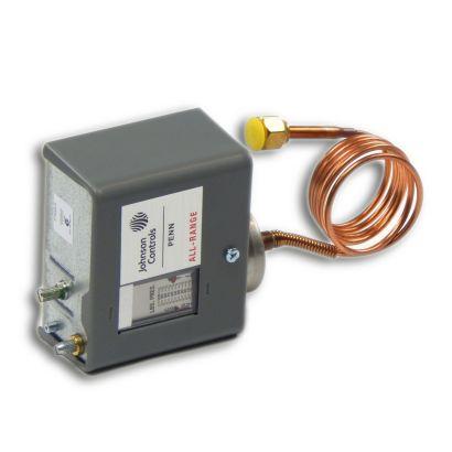 """Johnson Controls P70AB-2C - SPST Low Pressure Control; 20""""/100# Adj Differential 7/50# 1/4"""" Flare 36"""" Cap"""