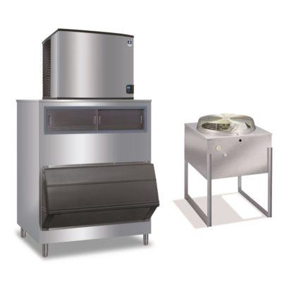 """Manitowoc ID0996N-261-F1300 - 12,700 BTU 30"""" Remote Cooled Indigo Dice Cube Ice Machine & F-Style Bin System 208-230V"""