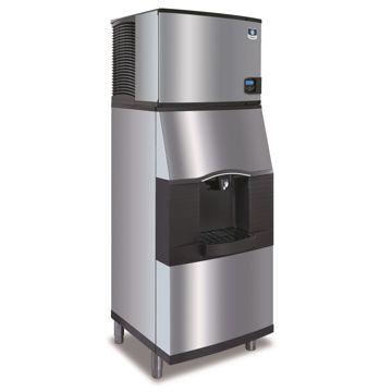"Manitowoc IY0304A-161-SFA291 - 4,600 BTU 30"" Indigo Half Dice Cube Ice Machine & Dispenser System With Water Valve 115V"