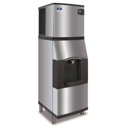 "Manitowoc IY0324A-161-SFA191 - 3,300 BTU 22"" Indigo Half Dice Cube Ice Machine & Dispenser System With Water Valve 115V"