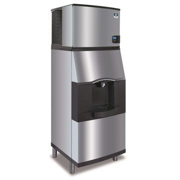 "Manitowoc IY0454A-161-SFA291 - 5,400 BTU 30"" Indigo Half Dice Cube Ice Machine & Dispenser System With Water Valve 115V"