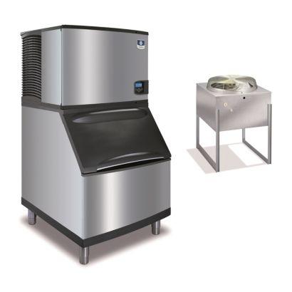 """Manitowoc IY0594N-161-B400 - 6,100 BTU 30"""" Remote Cooled Indigo Half Dice Cube Ice Machine & B-Style Bin System 115V"""