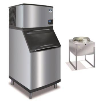 """Manitowoc IY0594N-161-B570 - 6,100 BTU 30"""" Remote Cooled Indigo Half Dice Cube Ice Machine & 430 lbs B-Style Bin System 115V"""