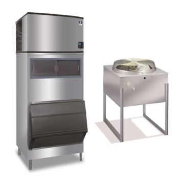 """Manitowoc IY0696N-261-F700-11,800 BTU 30"""" Remote Cooled Indigo Half Dice Cube Ice Machine & F-Style Bin System 208-230V"""