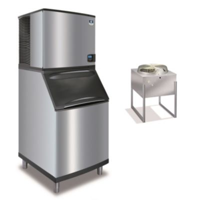 """Manitowoc IY0996N-261-B570 - 12,700 BTU 30"""" Remote Cooled Indigo Half Dice Cube Ice Machine & B-Style Bin System 208-230V"""