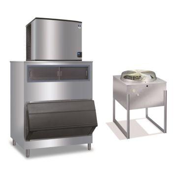 """Manitowoc IY1196N-261-F1300-16,250 BTU 30"""" Remote Cooled Indigo Half Dice Cube Ice Machine & 1320 lbs F-Style Bin System 220V"""