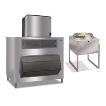"""Manitowoc IY1196N-261-F1325-16,250 BTU 30"""" Remote Cooled Indigo Half Dice Cube Ice Machine & F-Style Bin System 208-230V"""