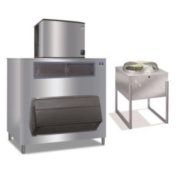 """Manitowoc IY1196N-261-F1650-16,250 BTU 30"""" Remote Cooled Indigo Half Dice Cube Ice Machine & F-Style Bin System 208-230V"""