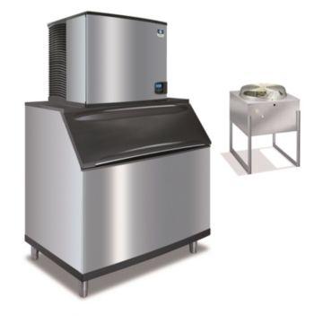 """Manitowoc IY1196N-261-B970 - 16,250 BTU 30"""" Remote Cooled Indigo Half Dice Cube Ice Machine & B-Style Bin System 208-230V"""