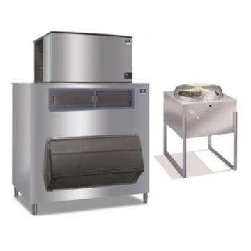 """Manitowoc IY1494N-261-F1650-23,500 BTU 48"""" Remote Cooled Indigo Half Dice Cube Ice Machine & 1660 lbs F-Style Bin System 220V"""