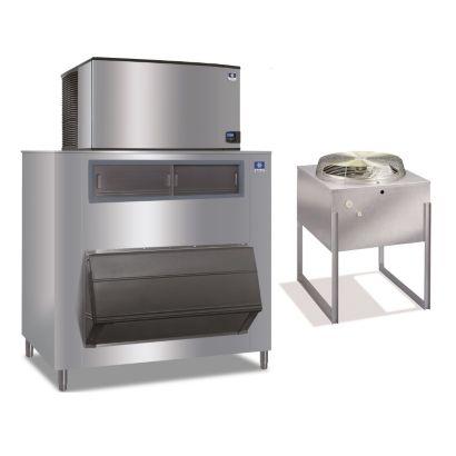 """Manitowoc IY1494N-261-F1650-23,500 BTU 48"""" Remote Cooled Indigo Half Dice Cube Ice Machine & F-Style Bin System 208-230V"""