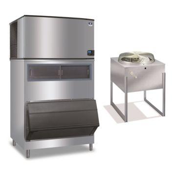 """Manitowoc IY1894N-261-F1300-30,000 BTU 48"""" Remote Cooled Indigo Half Dice Cube Ice Machine & 1320 lbs F-Style Bin System 220V"""