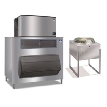 """Manitowoc IY1894N-261-F1325-30,000 BTU 48"""" Remote Cooled Indigo Half Dice Cube Ice Machine & 1325 lbs F-Style Bin System 220V"""