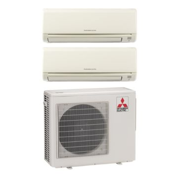 Mitsubishi MXZ2B20NA12000 - 18,000 BTU Dual-Zone Wall Mount Mini Split Air Conditioner Heat Pump 208-230V (6-6)