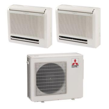 Mitsubishi MXZ2B20NA12011 - 18,000 BTU Dual-Zone Floor Mount Mini Split Air Conditioner Heat Pump 208-230V (9-9)