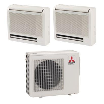 Mitsubishi MXZ2B20NA12011 - 20,000 BTU Dual-Zone Floor Mount Ductless Mini Split Air Conditioner Heat Pump 208-230V (9-9)