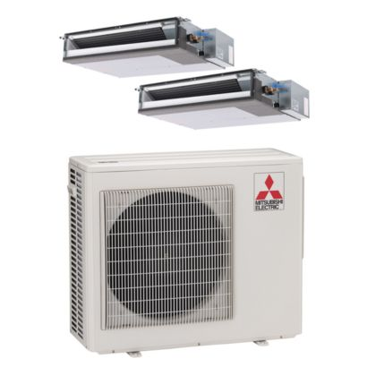 Mitsubishi MXZ2B20NA12015-20,000 BTU Dual-Zone Concealed Duct Ductless Mini Split Air Conditioner Heat Pump 208-230V (9-12)