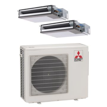 Mitsubishi MXZ2B20NA12017-20,000 BTU Dual-Zone Concealed Duct Mini Split Air Conditioner Heat Pump 208-230V(12-12)